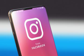 KYIV, UKRAINE-JUNE, 2020: Instagram Mobile Application on the Mobile Phone Screen. CloseUp Studio Shot of Smartphone with Instagram Application.