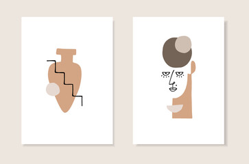 Obraz Vector set of artistic templates, invitations. Illustrations of female portrait and vase silhouette in minimal linear style. Modern cubism art with abstract shapes. Beauty and fashion concept. - fototapety do salonu