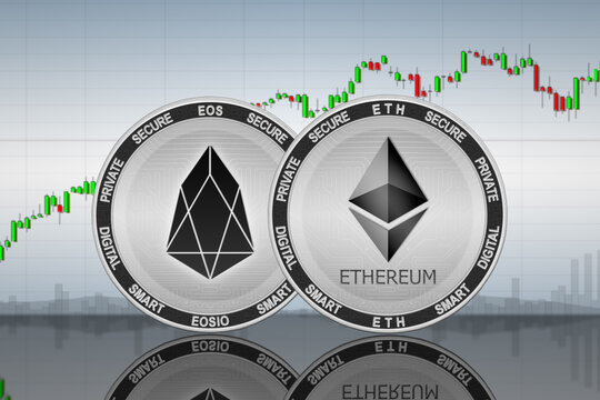 Ethereum (ETH) and EOS coins on the background of the chart; ethereum and eos cryptocurrency; crypto exchange
