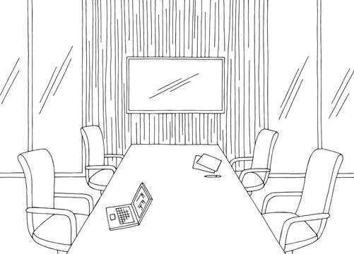 Conference room office vertical garden interior graphic black white sketch illustration vector