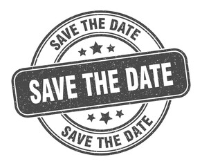 save the date stamp. save the date label. round grunge sign