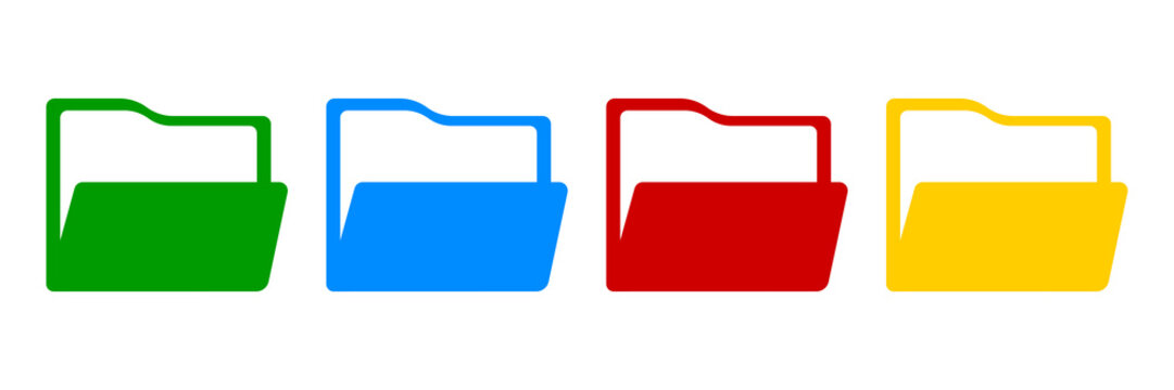 Folder colorful icon set. File vector isolated symbol collection.