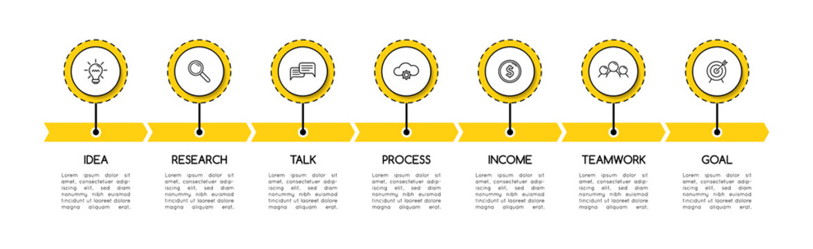 Business infographic with 7 steps. Timeline. Vector