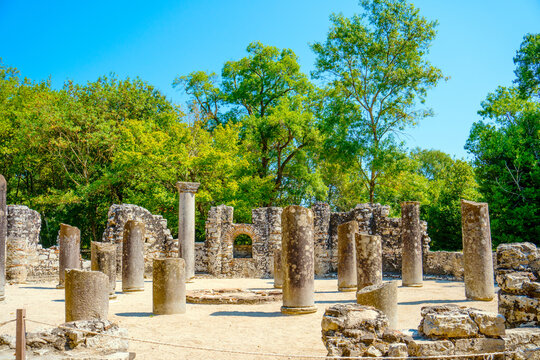 Ancient Roman city ruins in town of Butrint, Albania