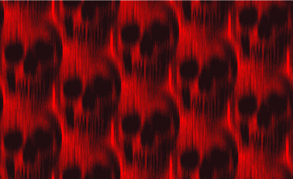 Vector seamless pattern of vertical motion blur smear black skull on red background.