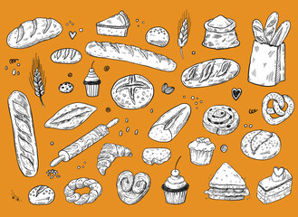 Bakery sketch set, hand drawn food illustration, doodle vector bread and pastry icons