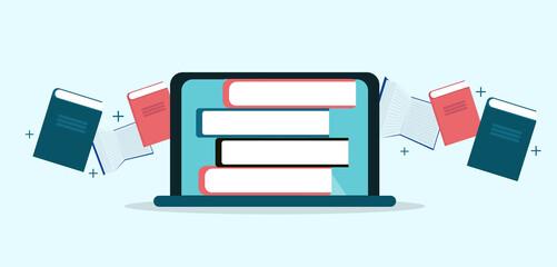 Ullustrative image, books flying into laptop, panorama