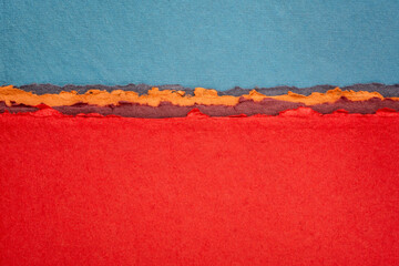 Fotorolgordijn Rood blue and red abstract landscape created with handmade Indian paper