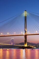Fototapete - Ting Kau Bridge and Tsing Ma Bridge in Hong Kong at dusk