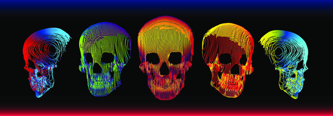 5 psychedelic gradient colorful line skull vector illustration in abstract minimal line-art style isolated on dark background.