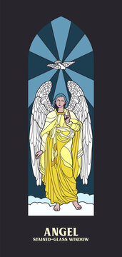 Angel and Dove Medieval Stained Glass Window Style Illustration, Cathedral Window Mosaic