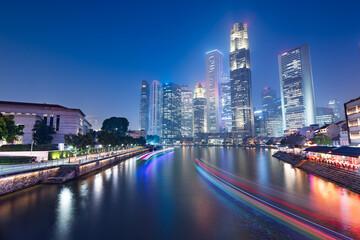 Fototapete - Singapore Skyline and Canal