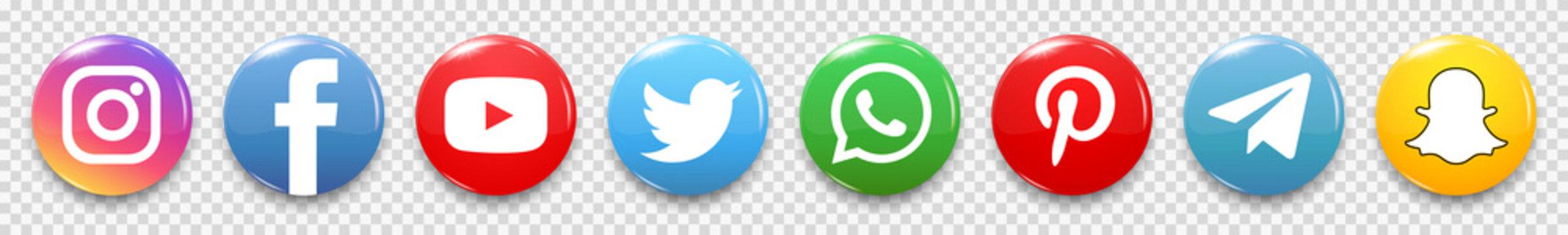 Kiev, Ukraine - June 29, 2020: Set popular social media icons. Facebook, instagram, twitter, youtube, pinterest, whatsap, telegram, snapchat. Editorial vector