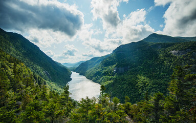 View of Indian Head and Fish Hawk Cliffs, Lake Placid, Adirondack mountains, New York, United States