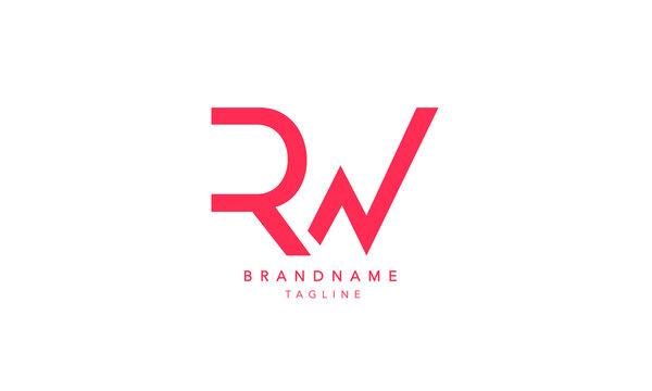 Alphabet letters Initials Monogram logo RW, WK, R and W