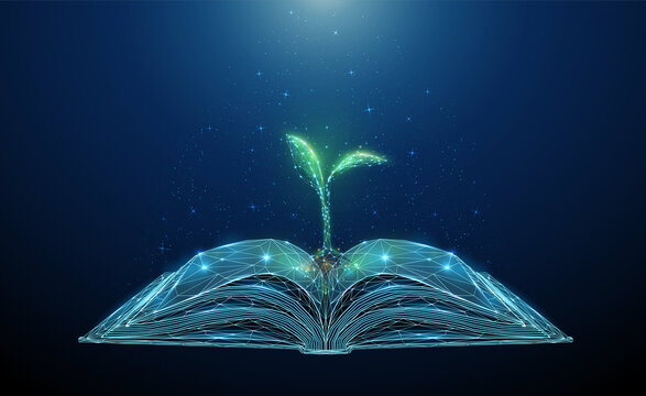 Abstract open book with growing young plant