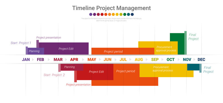 Project timeline graph for 12 months, 1 year, All month planner design and Presentation business project.
