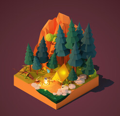Vector isometric camping in the forest. Campsite near the river or lake, pine trees and mountain. Campfire, tent, backpack and tourist equipment. Tourist cooking food on fire. Camping adventures