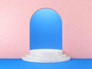 Сilindrical podium for product display, mock up scene for advertising and present product on arch background. 3d render.