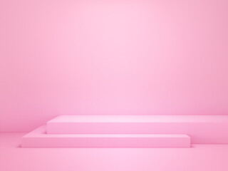 Geometrical shape podium for product display, mock up scene for advertising and present product on pink background. 3d render.
