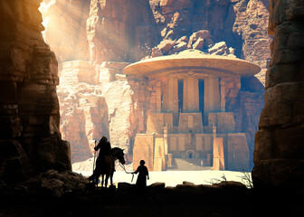 explorer and his child discover ancient temple with alien on stairs and flying saucer on the roof  in a desert cave rock - concept art - 3D rendering