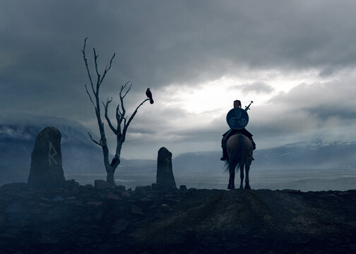 Viking knight following the Odin path signed by stones runes and a dead tree with a crow  - concept art - 3D rendering