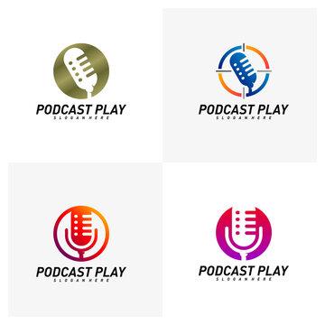 Set of Podcast creative design logo vector concept. Play podcast logo template. Icon symbol