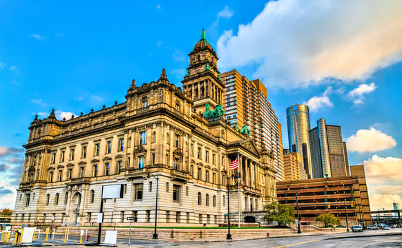 Wayne County Courthouse, a monumental government structure in Downtown Detroit, United States