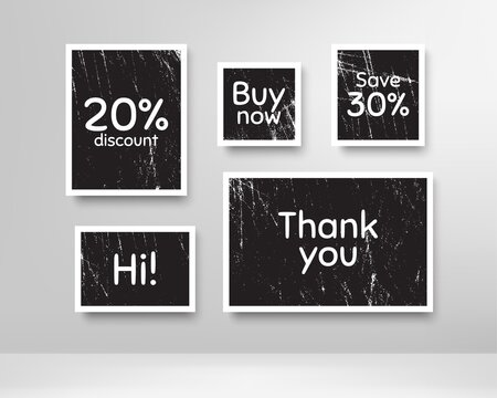 Buy now, 20% discount and save 30%. Black photo frames with scratches. Thank you phrase. Sale shopping text. Grunge photo frames. Images on wall, retro memory album. Realistic photograph card. Vector