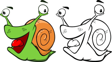 Stores à enrouleur Chambre bébé Vector Illustration of a Cute Cartoon Character Snail for you Design and Computer Game. Coloring Book Outline Set