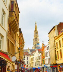 Shopping street, Church, Brussels, Belgium