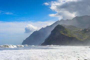 Madeira  landscape ocean mountain cliff