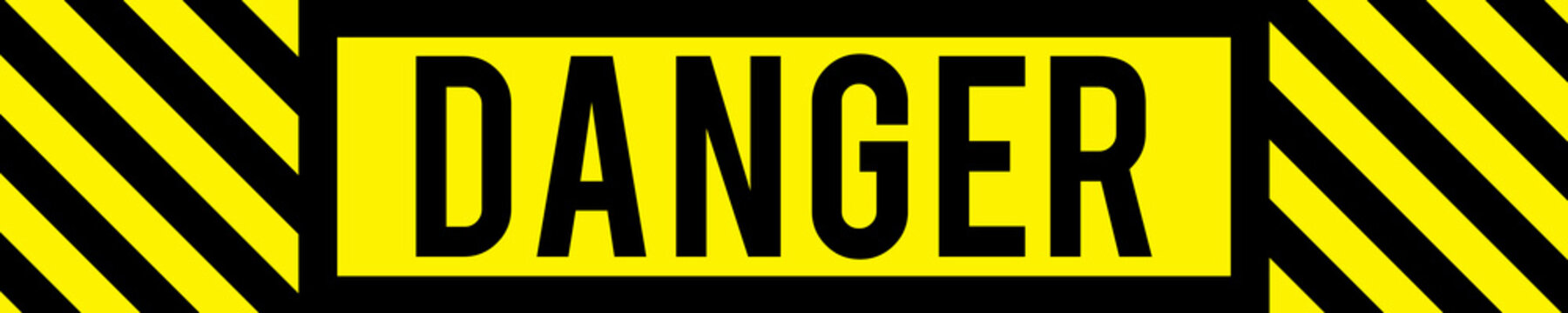 A bold black and yellow graphic text illustration danger banner for health and safety on roads, construction sites or other environments