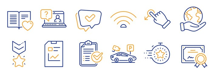 Set of Technology icons, such as Report document, Winner medal. Certificate, save planet. Faq, Timer, Wifi. Parking security, Approved, Survey checklist. Drag drop, Love book line icons. Vector