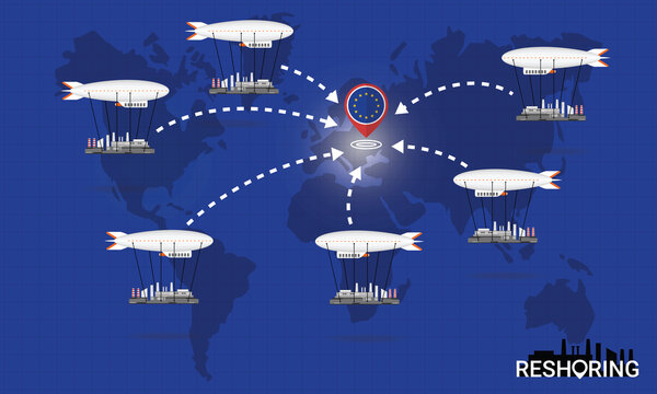 Reshoring concept. Factories companies return to EU. Self-sufficiency. Automated supply chain. Avoid production chain disruption. Design by zeppelin carry factory to moving on world map. Vector