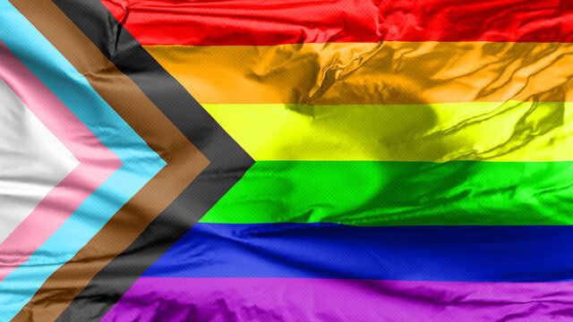LGBT Rainbow Flag with inclusion and progression colors. Symbol of lesbian, gay, bisexual & transgender community. Black and brown stripes to represent marginalised.