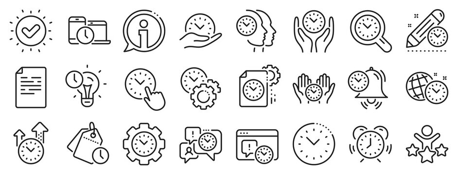 Alarm clock, timer plan and project deadline signs. Time management line icons. Countdown clock, time log and appointment reminder icons. People work, watch and office timer. Vector