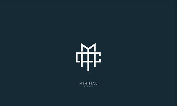Alphabet letter icon logo MC or CM