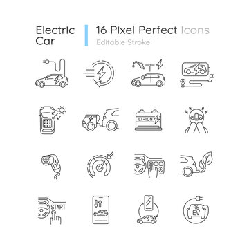 Electric car linear icons set. Environmentally safe automobile, alternative transport customizable thin line contour symbols. Isolated vector outline illustrations. Editable stroke