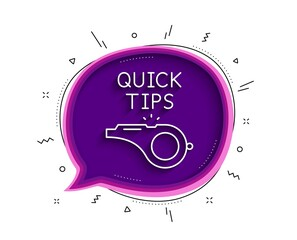 Quick tips whistle line icon. Chat bubble with shadow. Helpful tricks sign. Thin line tutorials icon. Vector