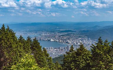 比叡山からの琵琶湖と大津市の眺望