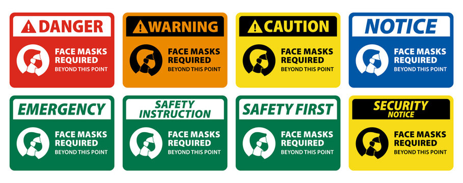 notice, warning, caution, danger sign of face masks required, collection of face covering sign. set of wear face mask sign vector eps10