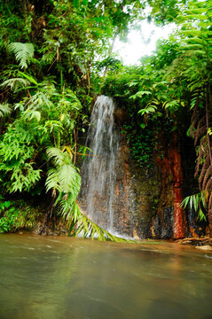 """Beautiful Tropical waterfall """"Curug Pangeran"""" on the Natural park of the Mount Salak in West Java, Indonesia"""