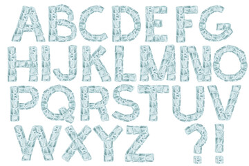 Drawn ice cubes latin alphabet. Cartoon ABC set on white background. Part