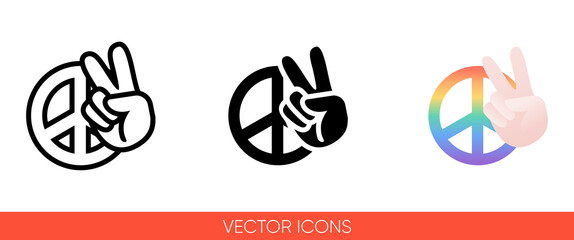 Peace sign hand with fingers and pacific sign, international symbol of peace, disarmament, antiwar movement in rainbow color icon. Isolated vector sign symbol.