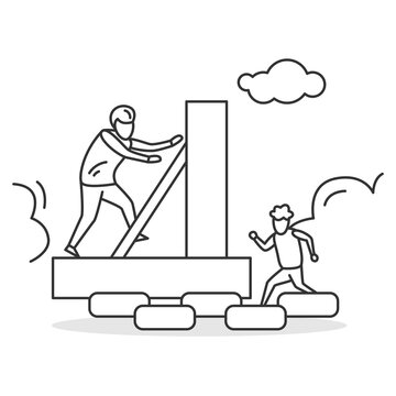 Family activity icon. Father and son climbing self built obstacle course. Concept linear pictogram for backyard family sport activity and summer vacation sports. Editable stroke vector illustration