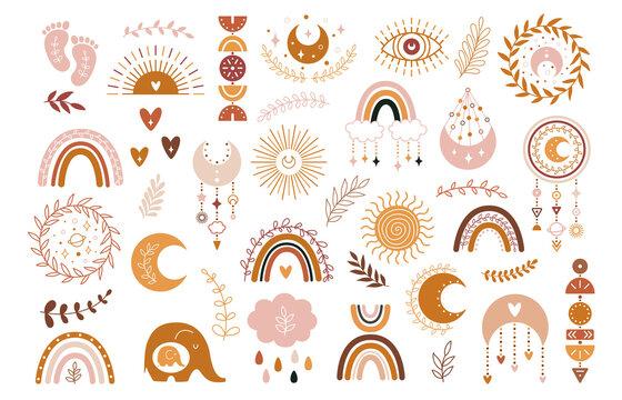 Vector hand drawn boho clipart for nursery decoration with cute rainbows and moon, sun, cloud, dream catcher.