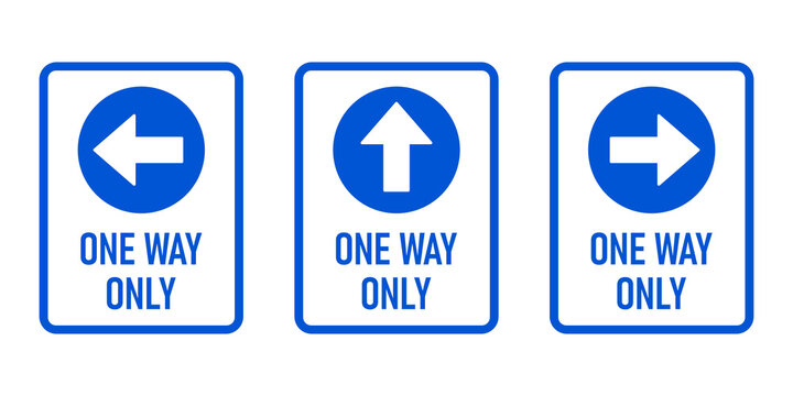 Set of One Way Only Vertical Warning Sign Poster Icon with Direction Arrow and Text. Vector Image.