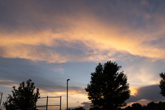 Sunset over the mountains from Denver (arvada) Colorado