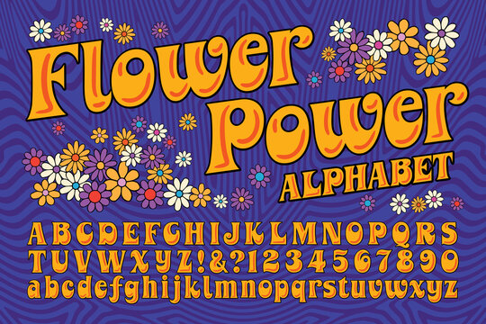 A Flower Power Hippie Themed Font; This Alphabet is in the Style of Late 60s and Early 70s Psychedelic Artwork and Lettering